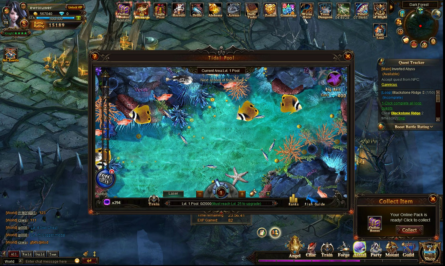 League of angels mmorpg free to play browsing game for Pool game show